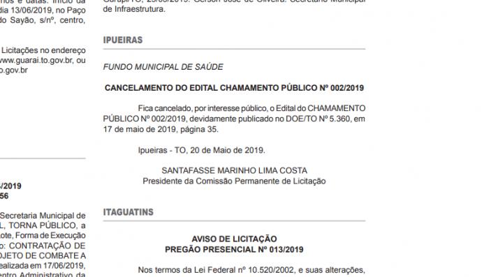 CANCELAMENTO DO EDITAL DE CHAMAMENTO PÚBLICO Nº 002/2019 - FMS